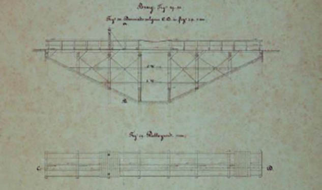 Ontwerp brug Fort Buitensluis 1884
