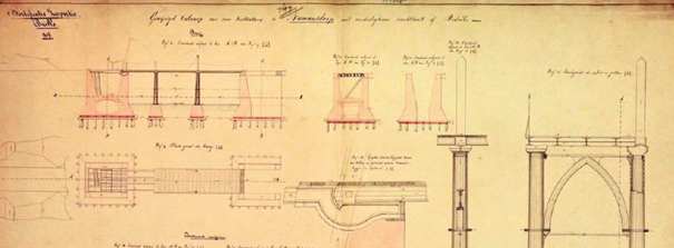 Ontwerp eerste brug Fort Buitensluis